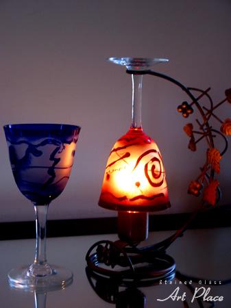 ワイングラスランプ